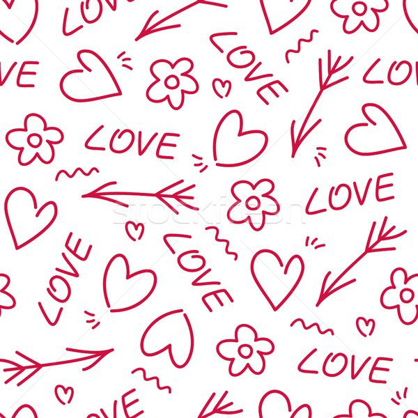 Amour saint valentin carte flèche fleur coeur Photo stock © karetniy