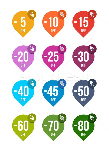 Sale off colored badges tag discount symbol retail sticker sign price pack 2 Stock photo © karetniy