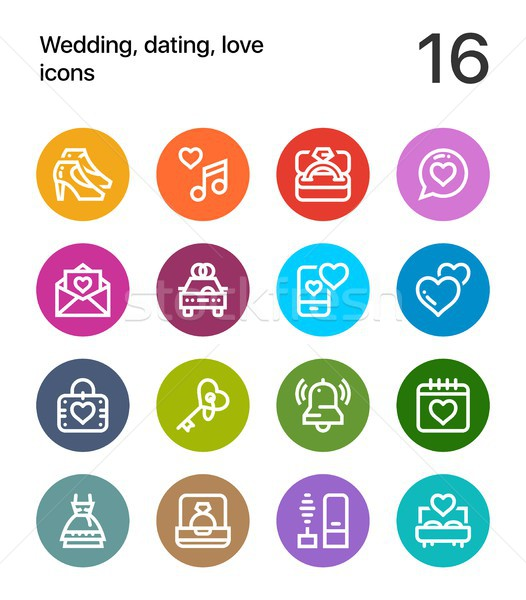 Colorful Wedding, dating, love icons for web and mobile design pack 2 Stock photo © karetniy