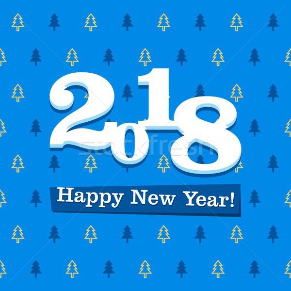Новый год синий белый шаблон Сток-фото © karetniy