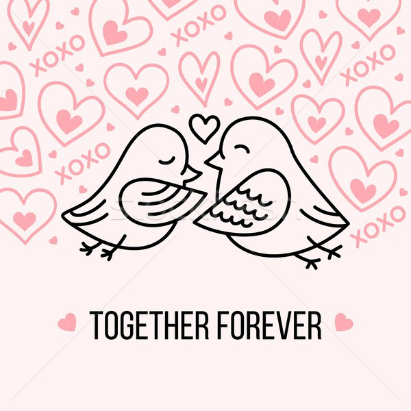 Amour saint valentin carte couple oiseaux coeur Photo stock © karetniy