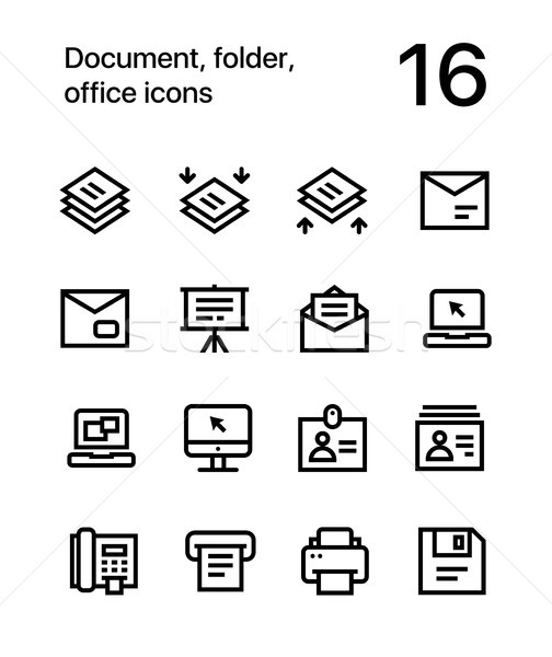 Document, folder, office icons for web and mobile design pack 4 Stock photo © karetniy