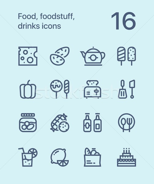 Outline Food, foodstuff, drinks icons for web and mobile design pack 2 Stock photo © karetniy