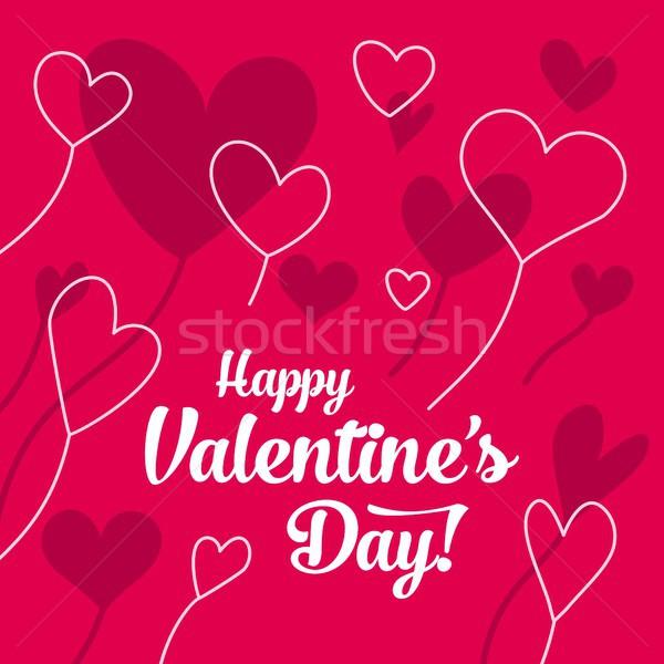 Boldog valentin nap kártya piros vonal fehér Stock fotó © karetniy