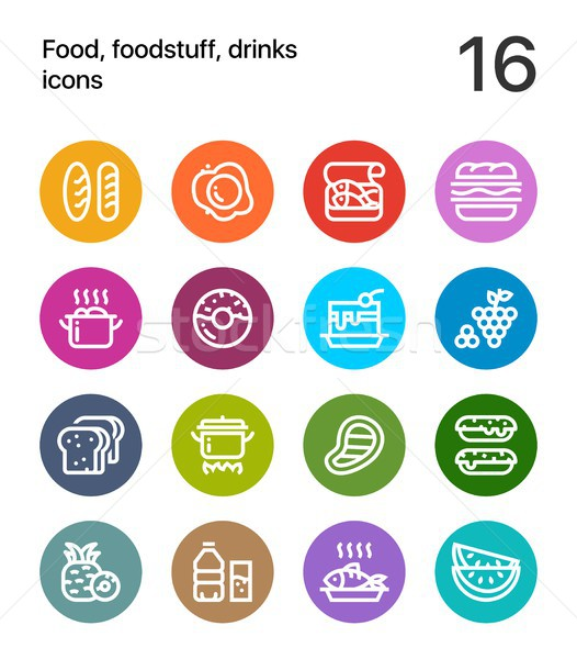 Colorful Food, foodstuff, drinks icons for web and mobile design pack 1 Stock photo © karetniy