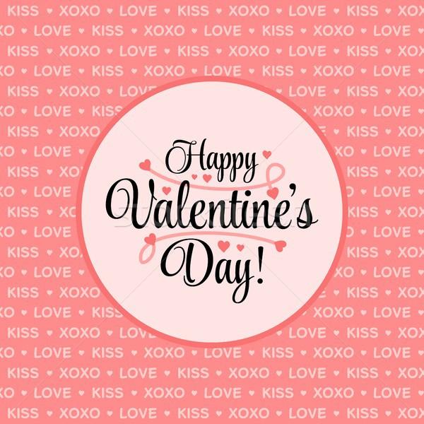 Boldog valentin nap kártya rózsaszín szív vektor Stock fotó © karetniy