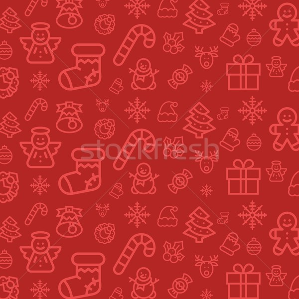 Christmas icon set pattern. Christmas seamless vector flat background Stock photo © karetniy