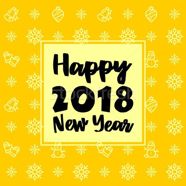 New Year 2018 icon set pattern. New Year and winter holidays flat vector icons yellow and black back Stock photo © karetniy