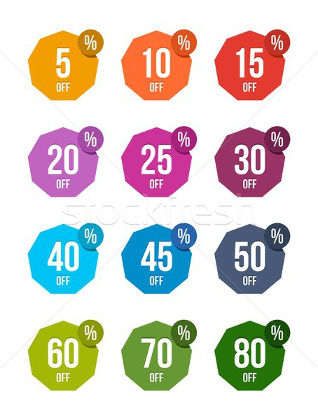 Set of sale off stickers colored badges tag discount symbol retail sign price Stock photo © karetniy