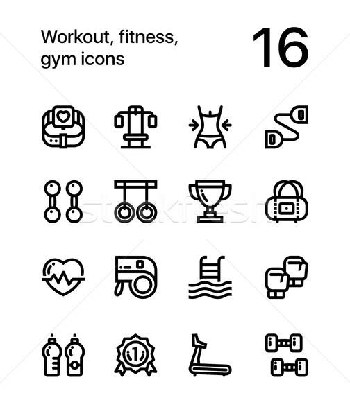 тренировки фитнес спортзал иконки веб мобильных Сток-фото © karetniy