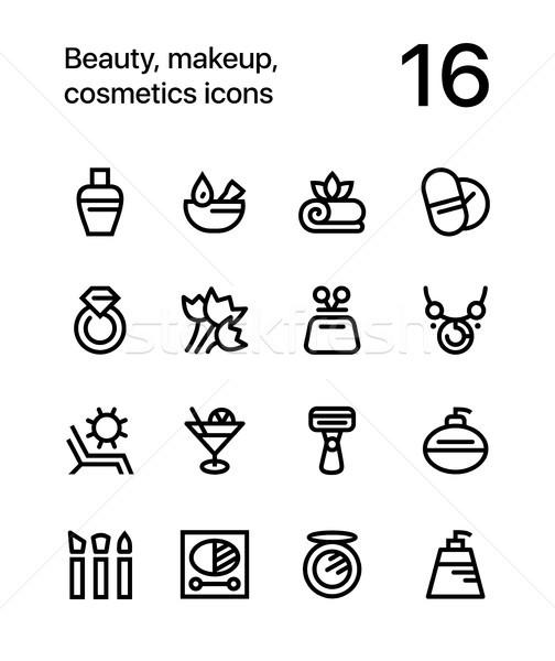 красоту косметики макияж иконки веб мобильных Сток-фото © karetniy