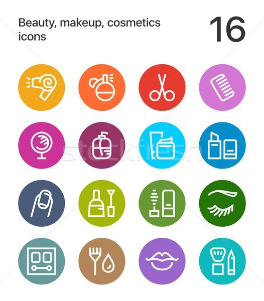 Coloré beauté cosmétiques maquillage icônes web Photo stock © karetniy