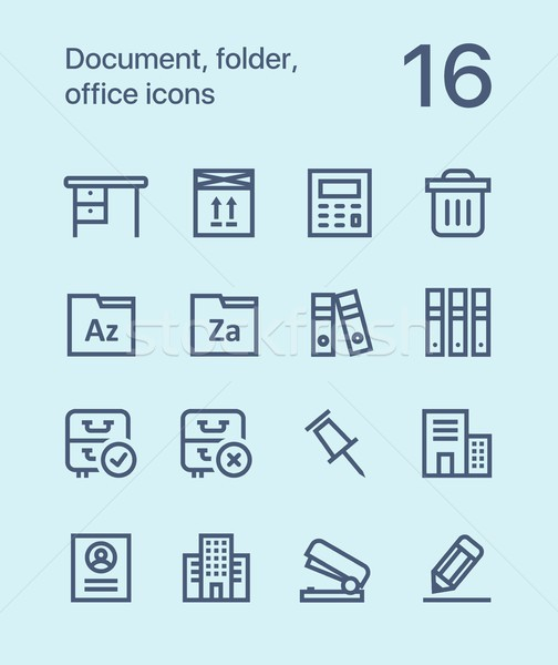 Outline Document, folder, office icons for web and mobile design pack 3 Stock photo © karetniy
