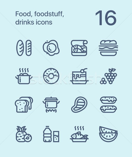 Outline Food, foodstuff, drinks icons for web and mobile design pack 1 Stock photo © karetniy