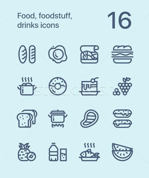 Skicc étel élelmiszer italok ikonok háló Stock fotó © karetniy