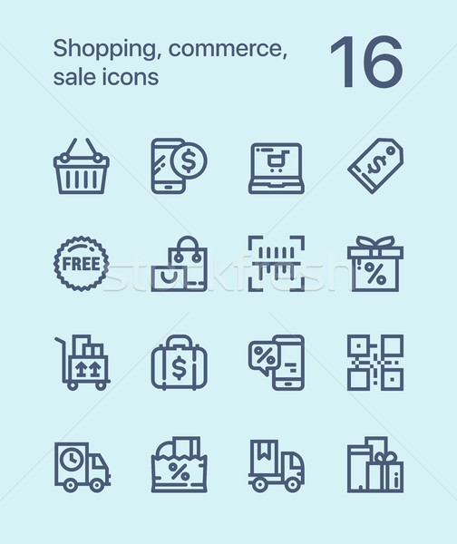 Outline Shopping, commerce, sale icons for web and mobile design pack 2 Stock photo © karetniy