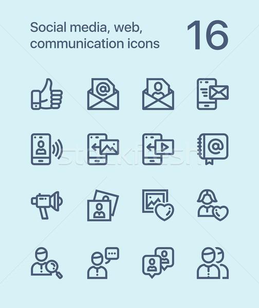 веб связи иконки мобильных Сток-фото © karetniy