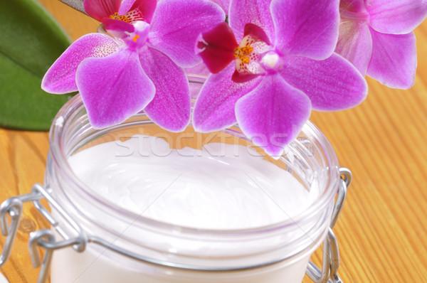 Cosmétiques corps crème blanche orchidée santé Photo stock © karin59