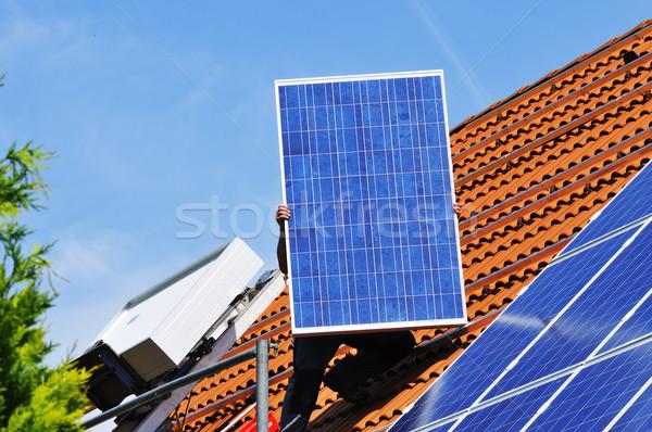 太陽光発電 屋根 太陽 エネルギー 電源 環境 ストックフォト © karin59