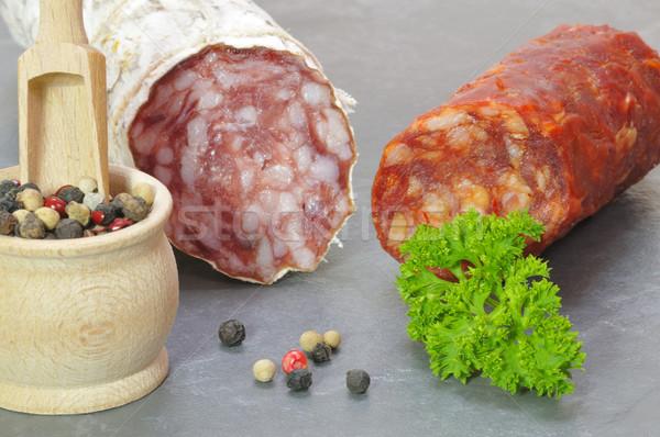 Italien salami table viande poivre Photo stock © karin59