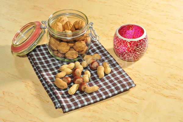 Noix pain d'épice fruits verre temps bougie Photo stock © karin59