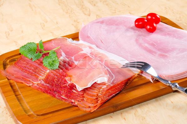 Jambon cuit brut cuisine plaque Photo stock © karin59