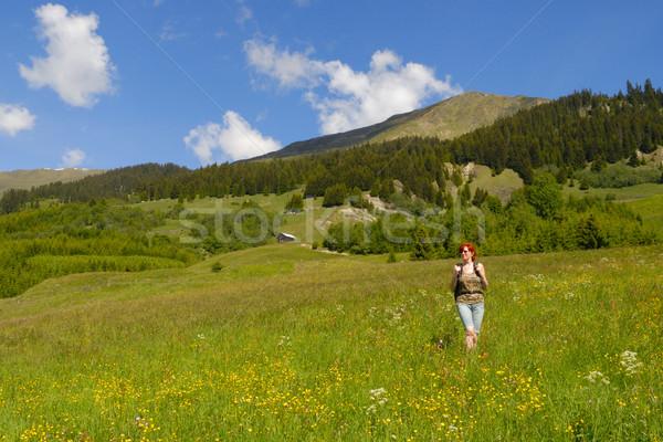 Alpes Autriche femme Voyage montagnes marche Photo stock © karin59