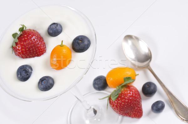 Dessert fruits yaourt verre orange Photo stock © karin59