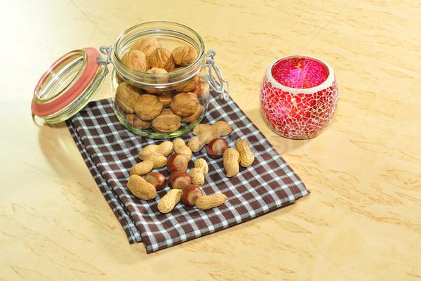 Noix pain d'épice verre temps bougie sac Photo stock © karin59