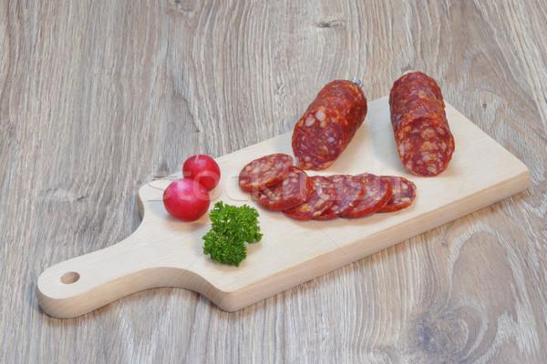 Salami italien planche à découper alimentaire viande couteau Photo stock © karin59