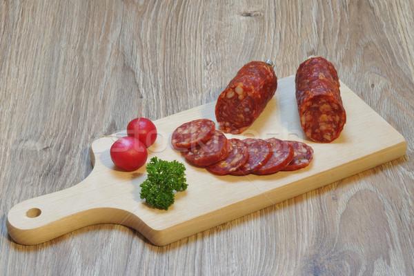 Italien salami planche à découper viande grasse régime alimentaire Photo stock © karin59