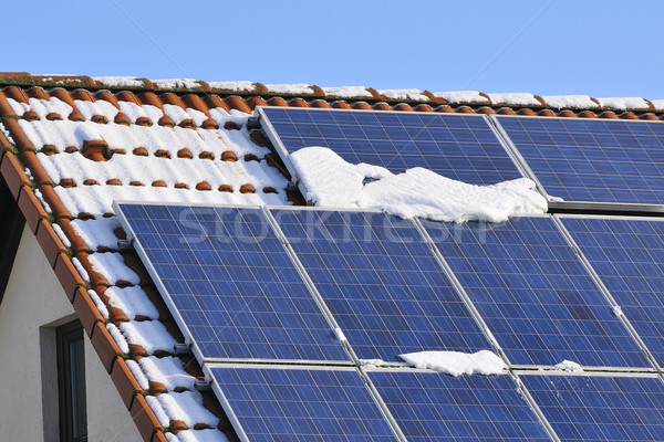 Güneş kar kış çatı teknoloji mavi Stok fotoğraf © karin59