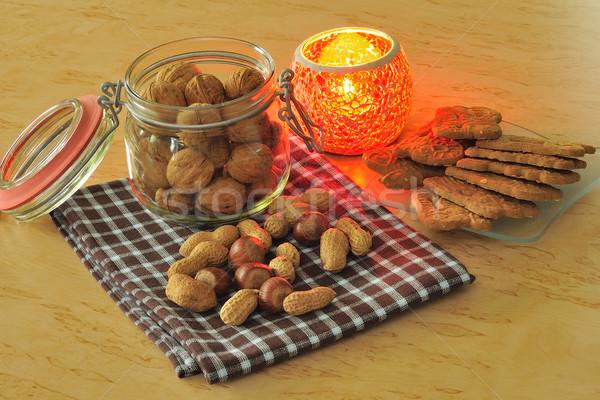 Nozes pão de especiarias vidro tempo vela saco Foto stock © karin59