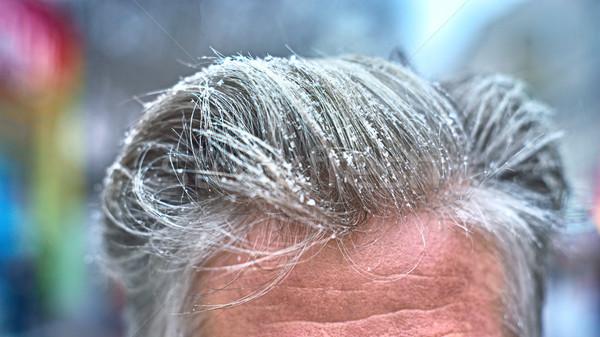 Kar taneleri gri saç adam sokak kar Stok fotoğraf © Karpenkovdenis