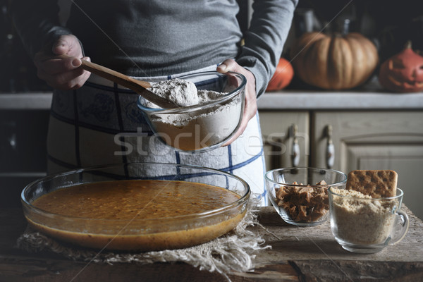 Adding flour in the dough for dump cake Stock photo © Karpenkovdenis