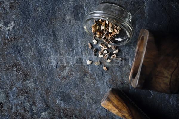 Spices mix on the stone background top view Stock photo © Karpenkovdenis