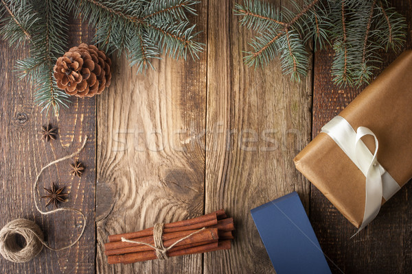 Homemade present with spices and fir tree on the wooden board Stock photo © Karpenkovdenis