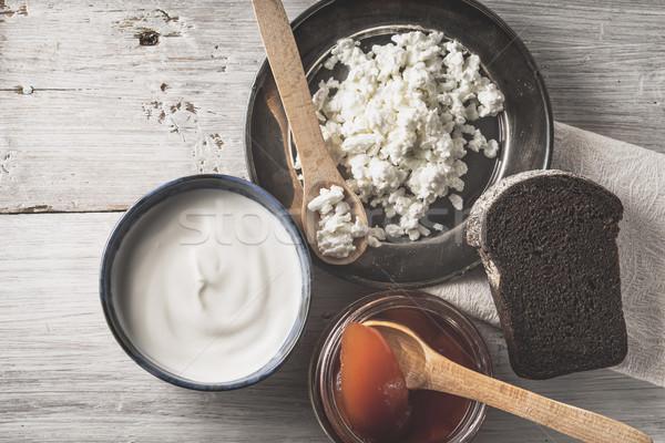 新鮮な コテージチーズ サワークリーム ジャム パン 白 ストックフォト © Karpenkovdenis