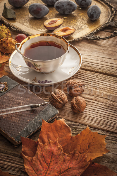 Cup of tea with  gift of nature and vintage notebook  with film  Stock photo © Karpenkovdenis