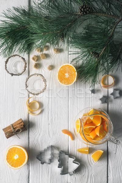 Ingesteld oranje voorbereiding witte houten tafel voedsel Stockfoto © Karpenkovdenis