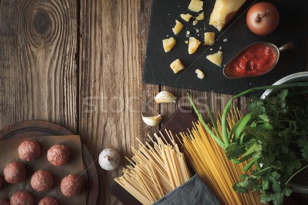 材料 料理 スパゲティ ミートボール チーズ 新鮮な ストックフォト © Karpenkovdenis