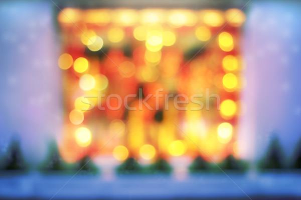 Сток-фото: расплывчатый · свет · окна · снега · фон · оранжевый