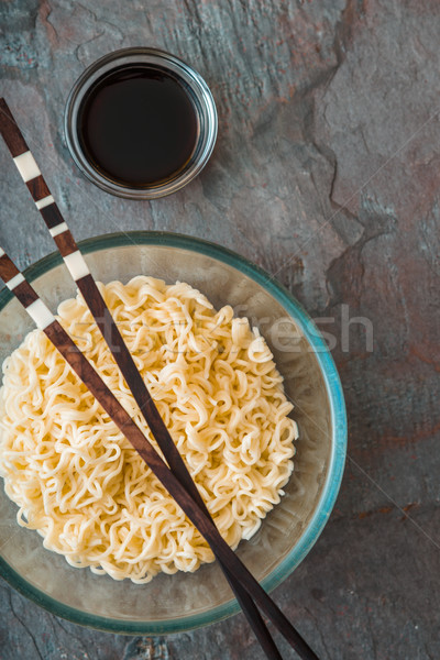 Soup Ramen noodles in glass bowl on tte gray table Stock photo © Karpenkovdenis
