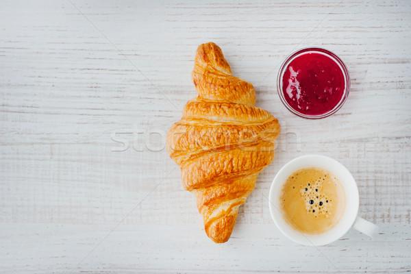 круассан Кубок кофе Jam Top мнение Сток-фото © Karpenkovdenis