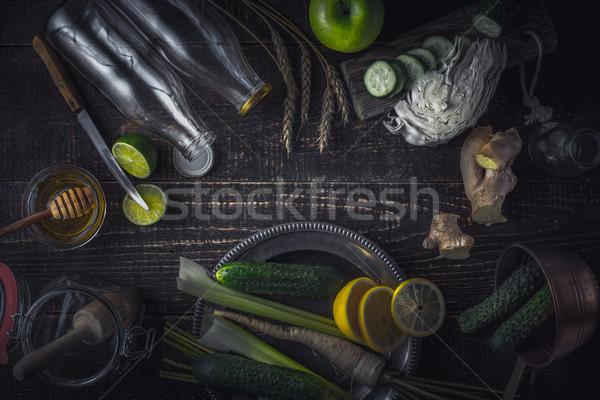 Ingredients for smoothie on the wooden table horizontal Stock photo © Karpenkovdenis
