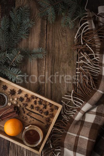 Turuncu bal baharatlar ahşap tepsi Stok fotoğraf © Karpenkovdenis