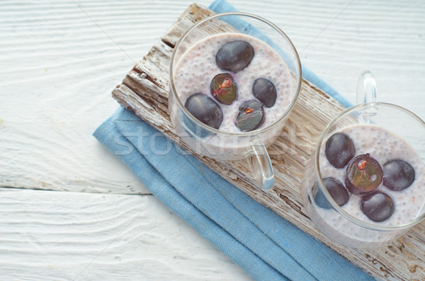 Chia pudding with grapes on the white wooden table Stock photo © Karpenkovdenis