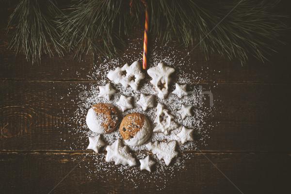 Christmas bal cookies houten tabel winter Stockfoto © Karpenkovdenis