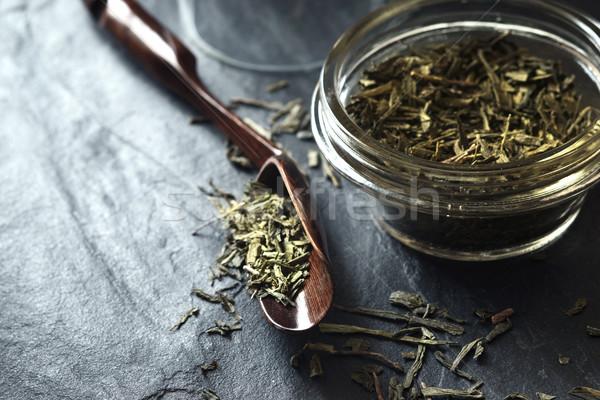 Set for tea preparation on the stone dark stone table horizontal Stock photo © Karpenkovdenis