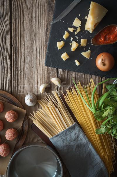 Malzemeler pişirme spagetti köfte peynir taze Stok fotoğraf © Karpenkovdenis